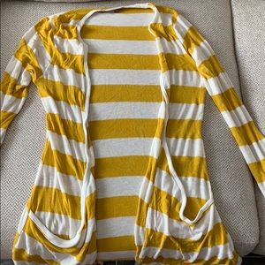 Yellow and white striped light sweater